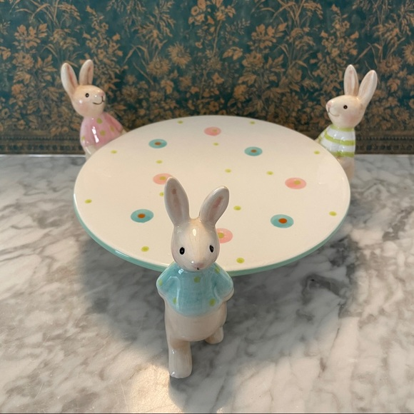 C and F Home Bunny Rabbit Cake Serving Plate